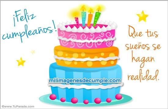 imagen de feliz cumpleañoa con pastel y frase