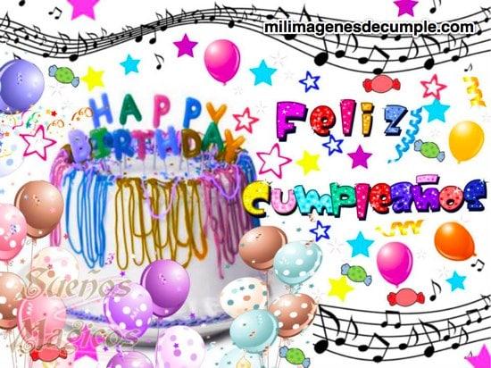 Imágenes de feliz cumpleaños con torta y colores